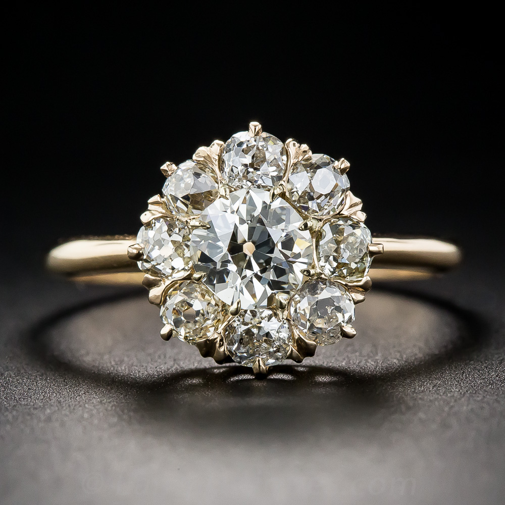 .78 Carat Center Diamond Antique Cluster Ring