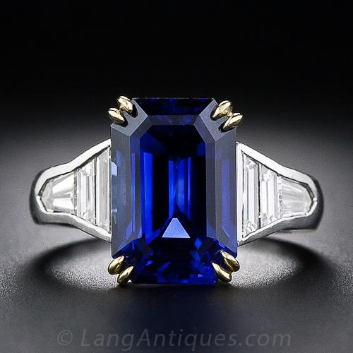 8 10 Carat Emerald Cut Sapphire And Baguette Diamond Ring