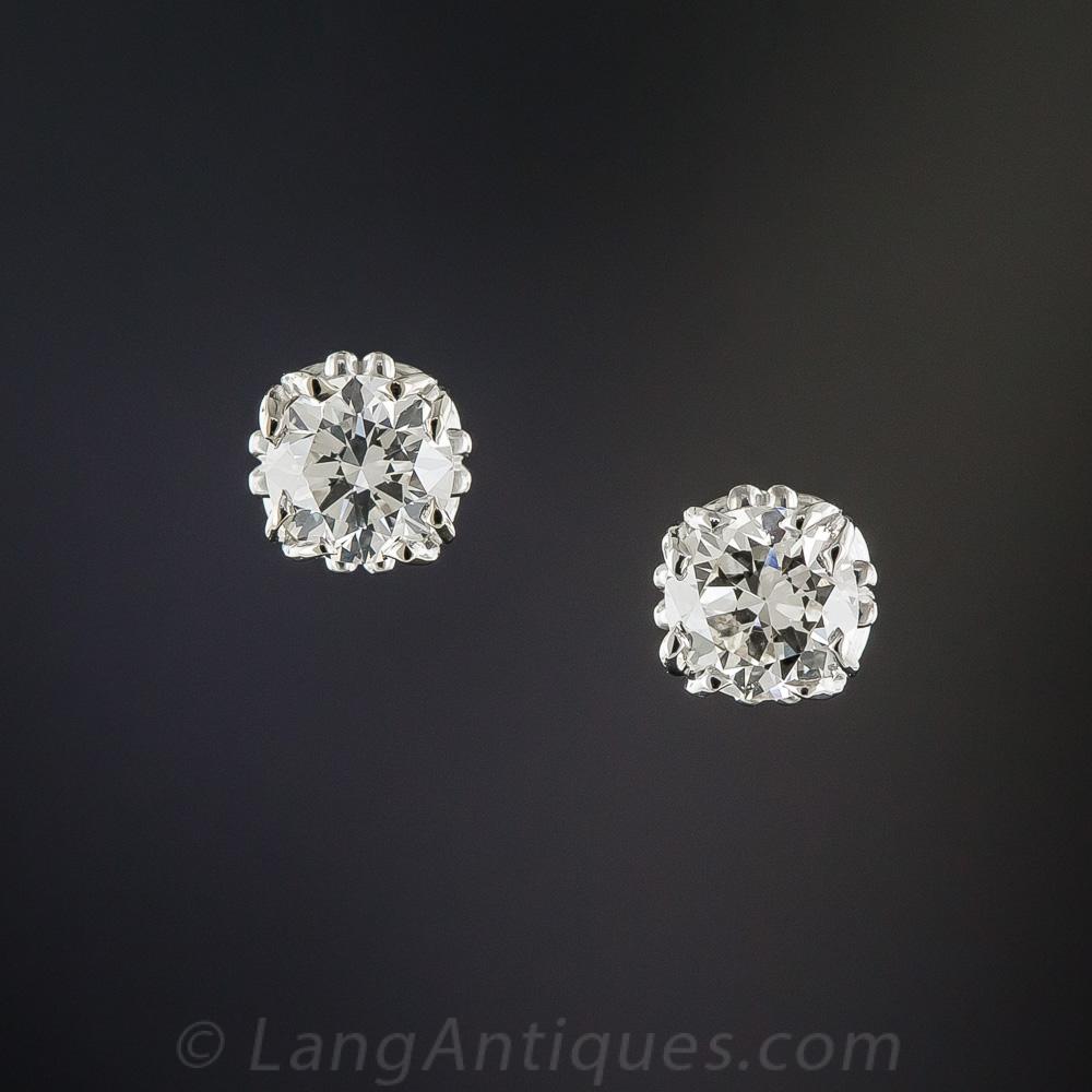 .83 Carat Diamond Vintage Studs