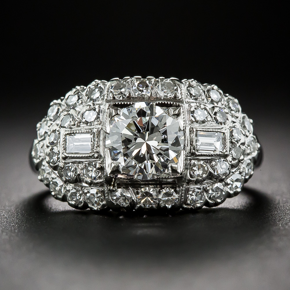 97 Carat Diamond And Platinum Vintage Engagement Ring By