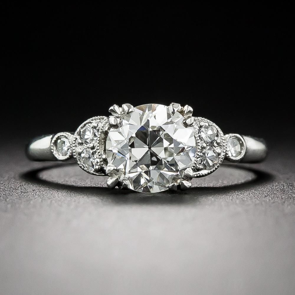 Engagement Rings Vs Wedding Bands: .98 Carat Art Deco Diamond Engagement Ring GIA: I VS 2