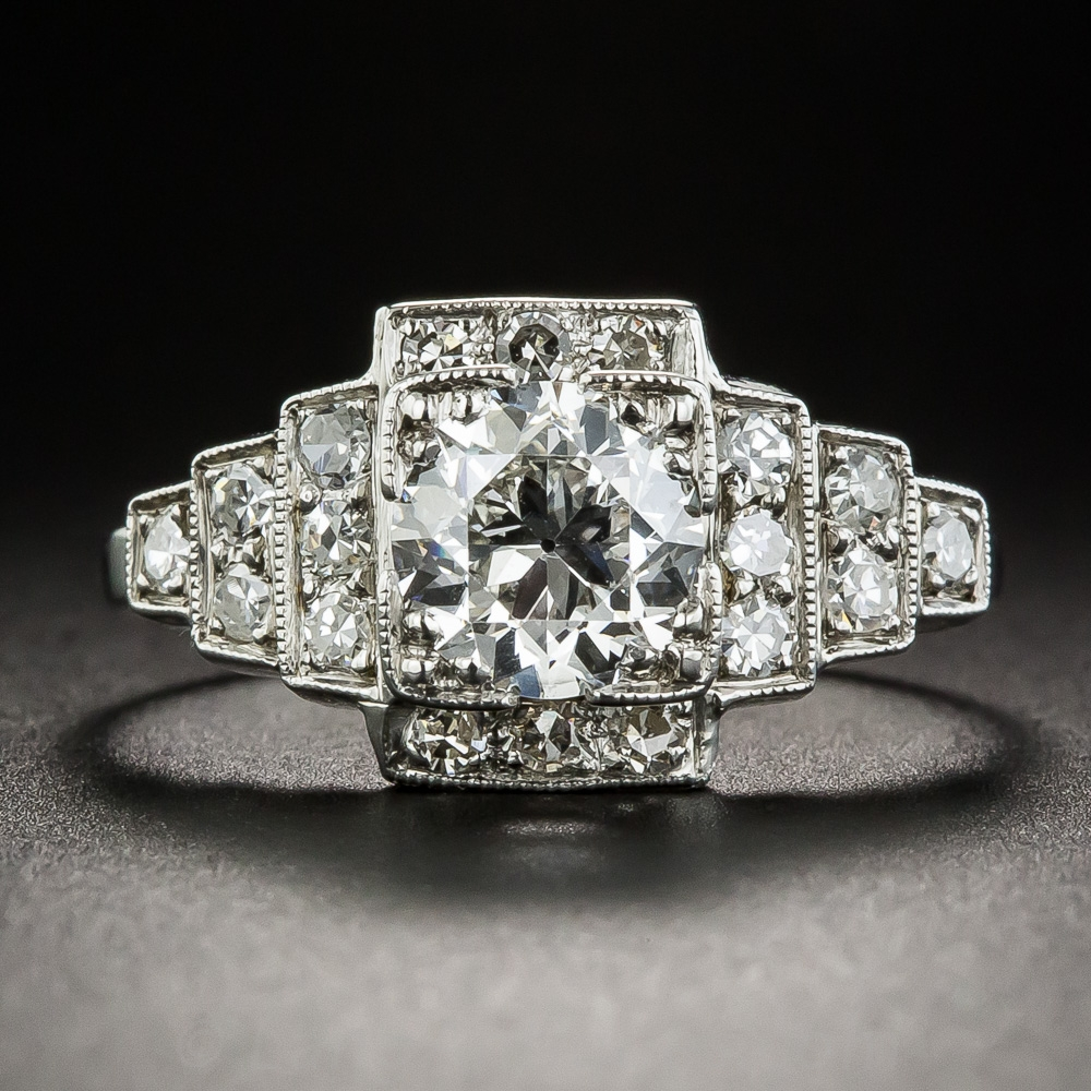 99 Carat Art Deco Platinum Diamond Engagement Ring Gia