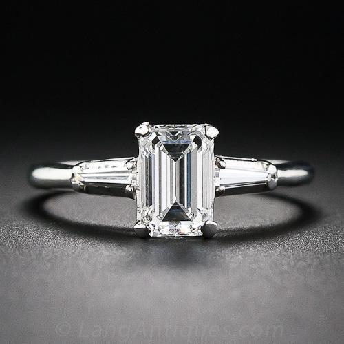 99 carat evvs1 emeraldcut diamond estate engagement ring