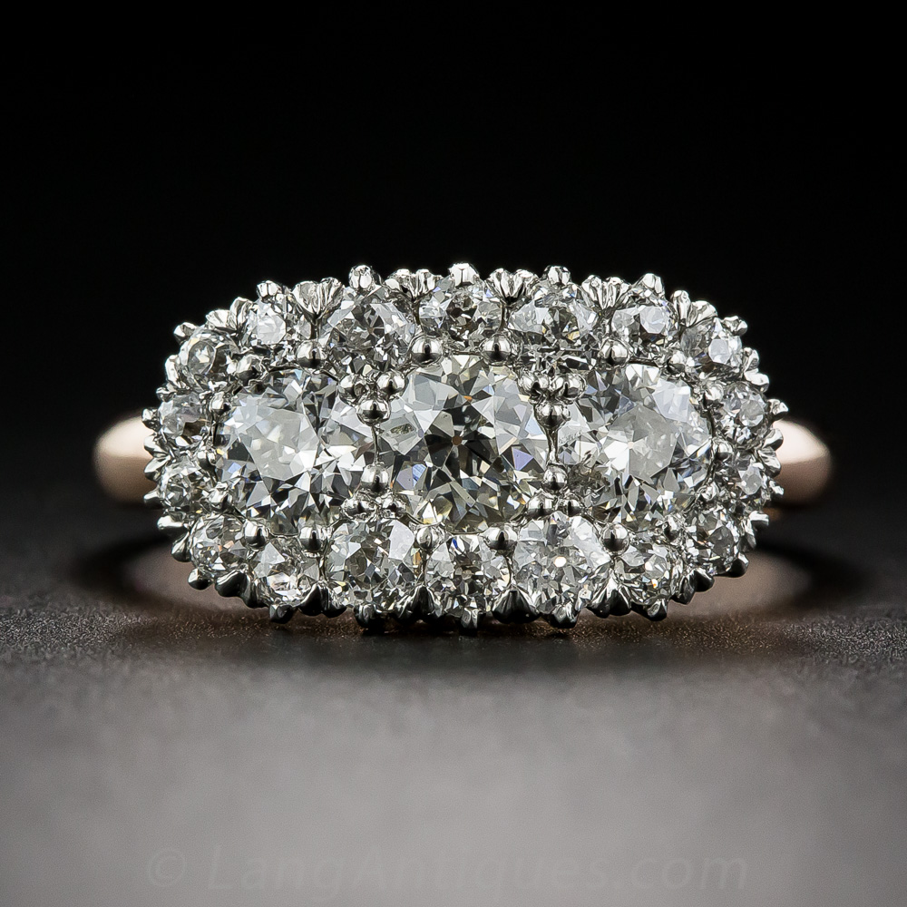 Antique Three Stone Diamond Cluster Ring