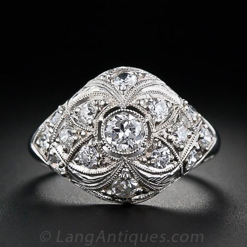antique diamond platinum dome ring. Black Bedroom Furniture Sets. Home Design Ideas
