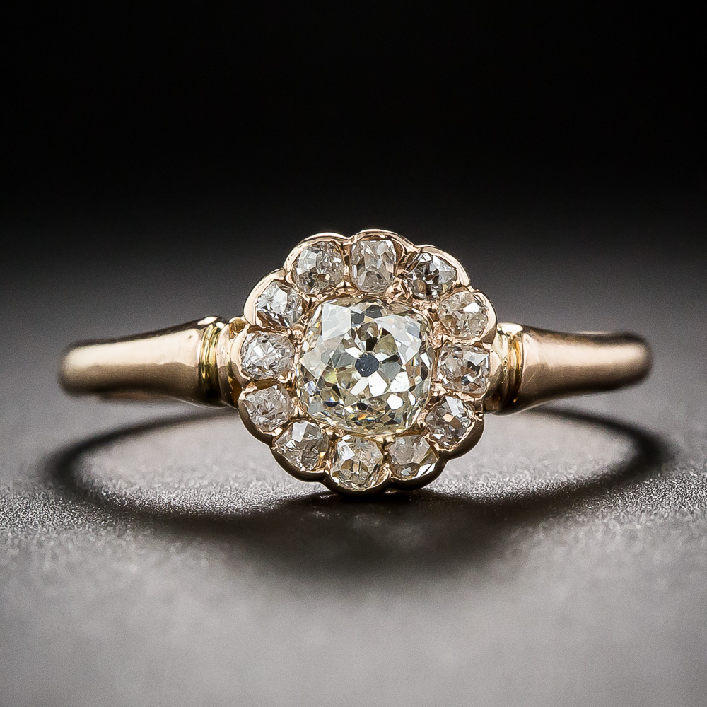 Antique Diamond And Rose Gold Cluster Ring