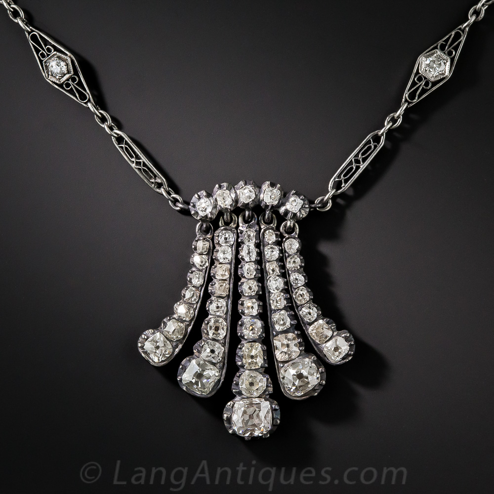 Antique Diamond Pendant Tassel Necklace