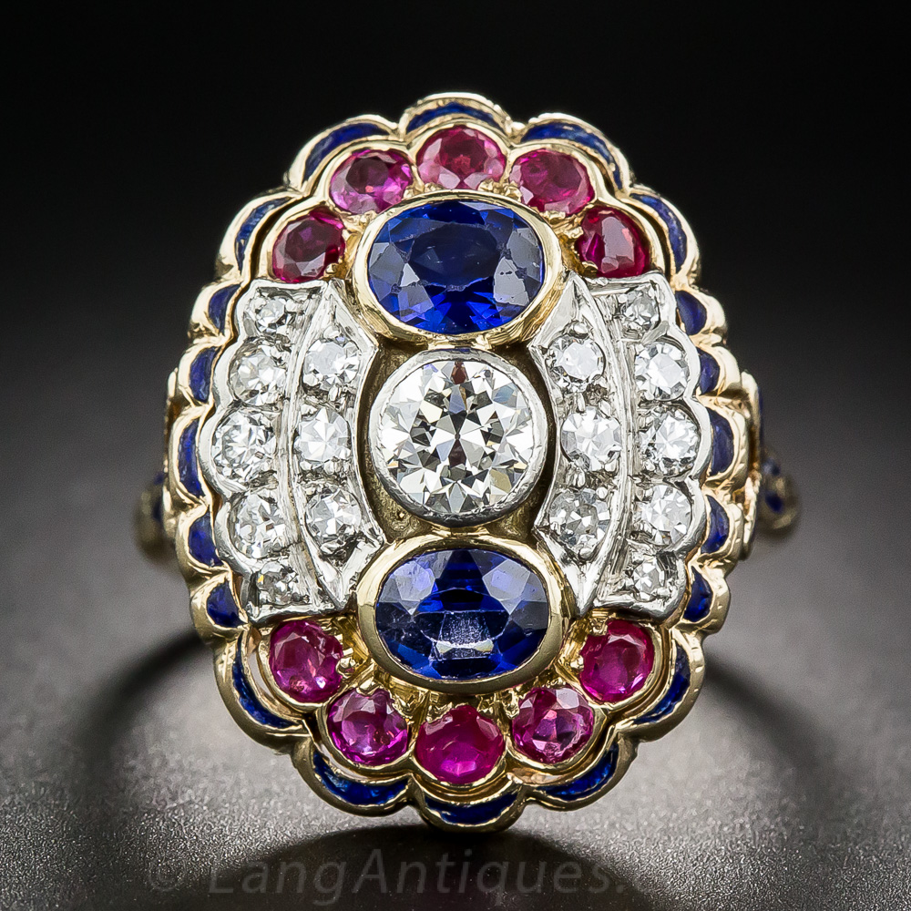 Antique Diamond Sapphire And Ruby Dinner Ring