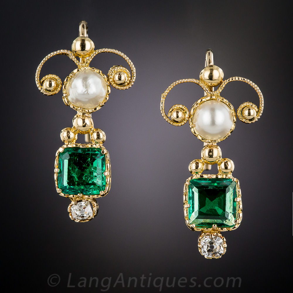 Antique Emerald Pearl And Diamond Earrings