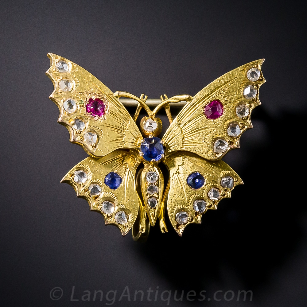 Antique French Butterfly Brooch