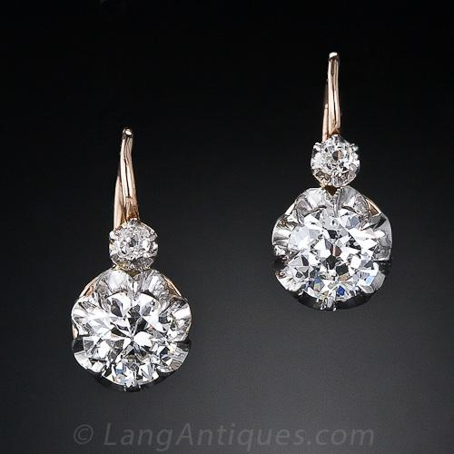 Antique French Diamond Cluster Drop Earrings