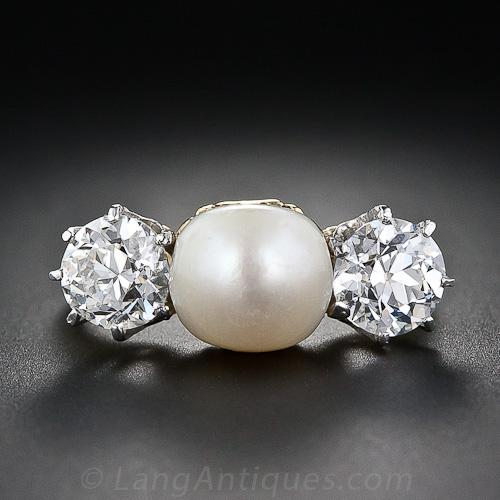 Antique Natural Pearl And Diamond Three Stone Ring