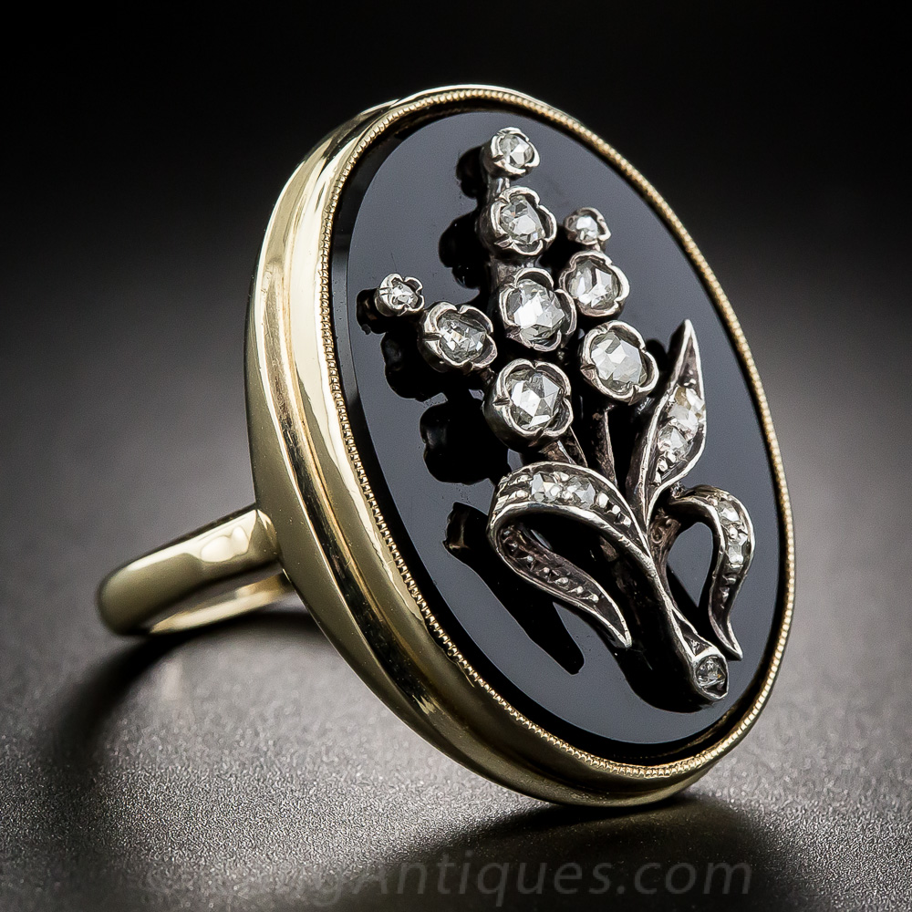 Antique Onyx And Rose Cut Diamond Ring