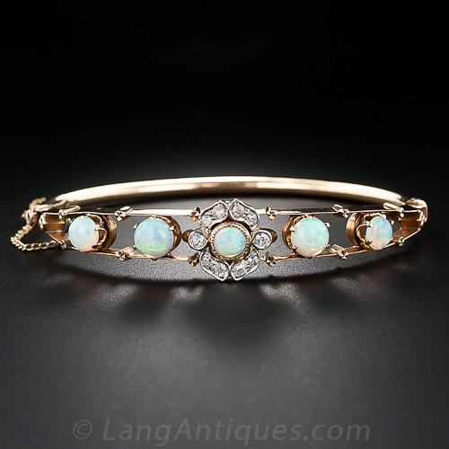 Antique Opal And Diamond Bangle Bracelet