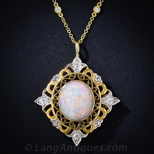 Antique Opal And Diamond Necklace