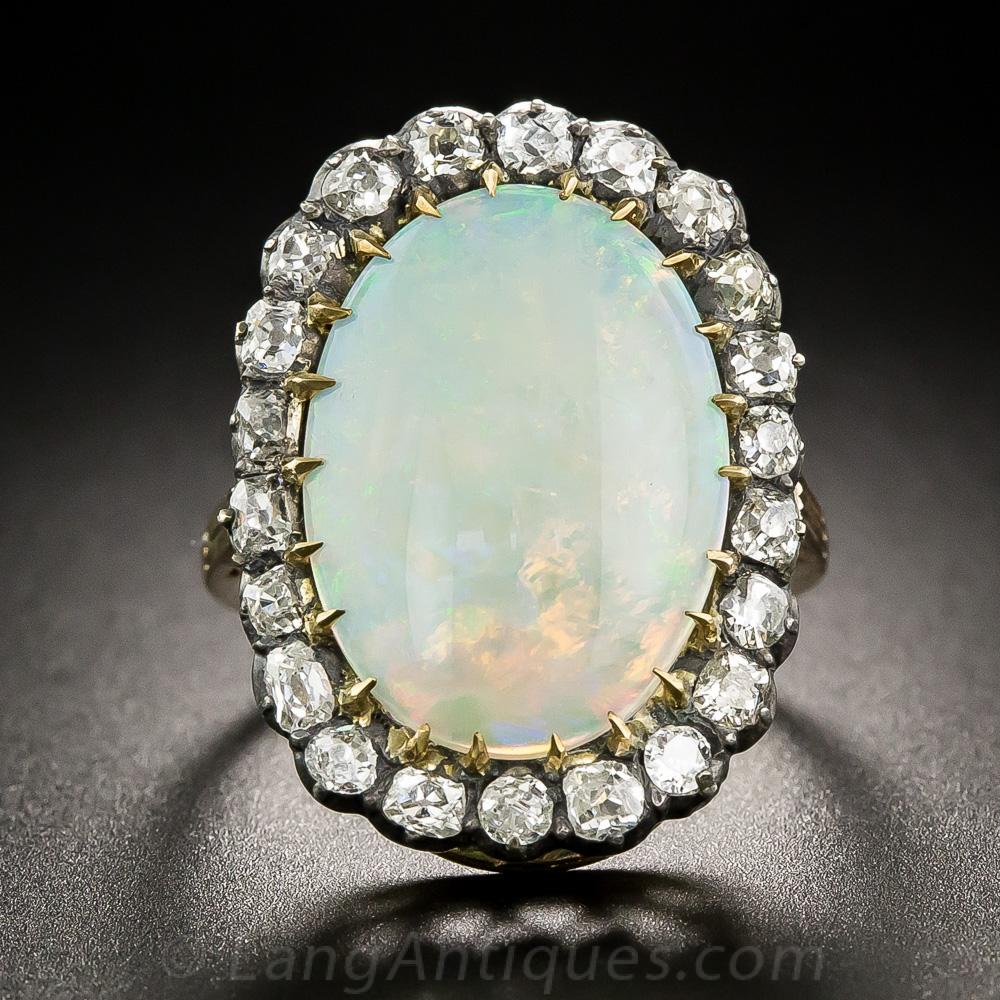 antique opal diamond cocktail ring vintage jewelry