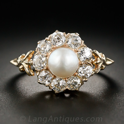 Diamond And Pearl Engagement Rings: Antique Pearl And Diamond Ring