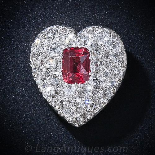 Antique Red Spinel And Diamond Heart Pendant