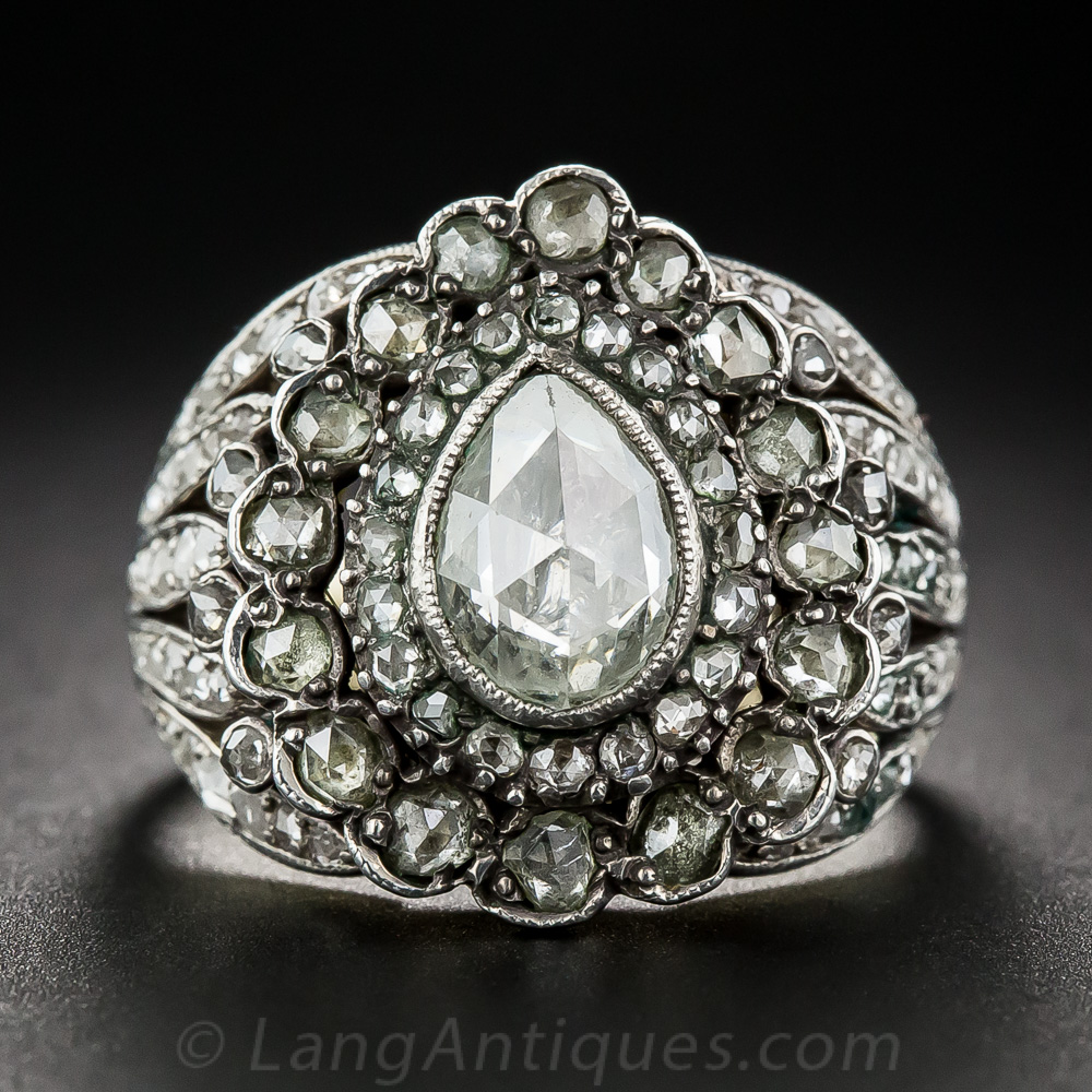 Antique Style Pear Shaped Rose Cut Diamond Cluster Ring