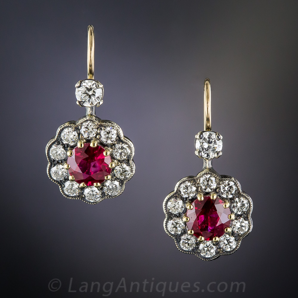 Antique Style Ruby and Diamond Drop Earrings