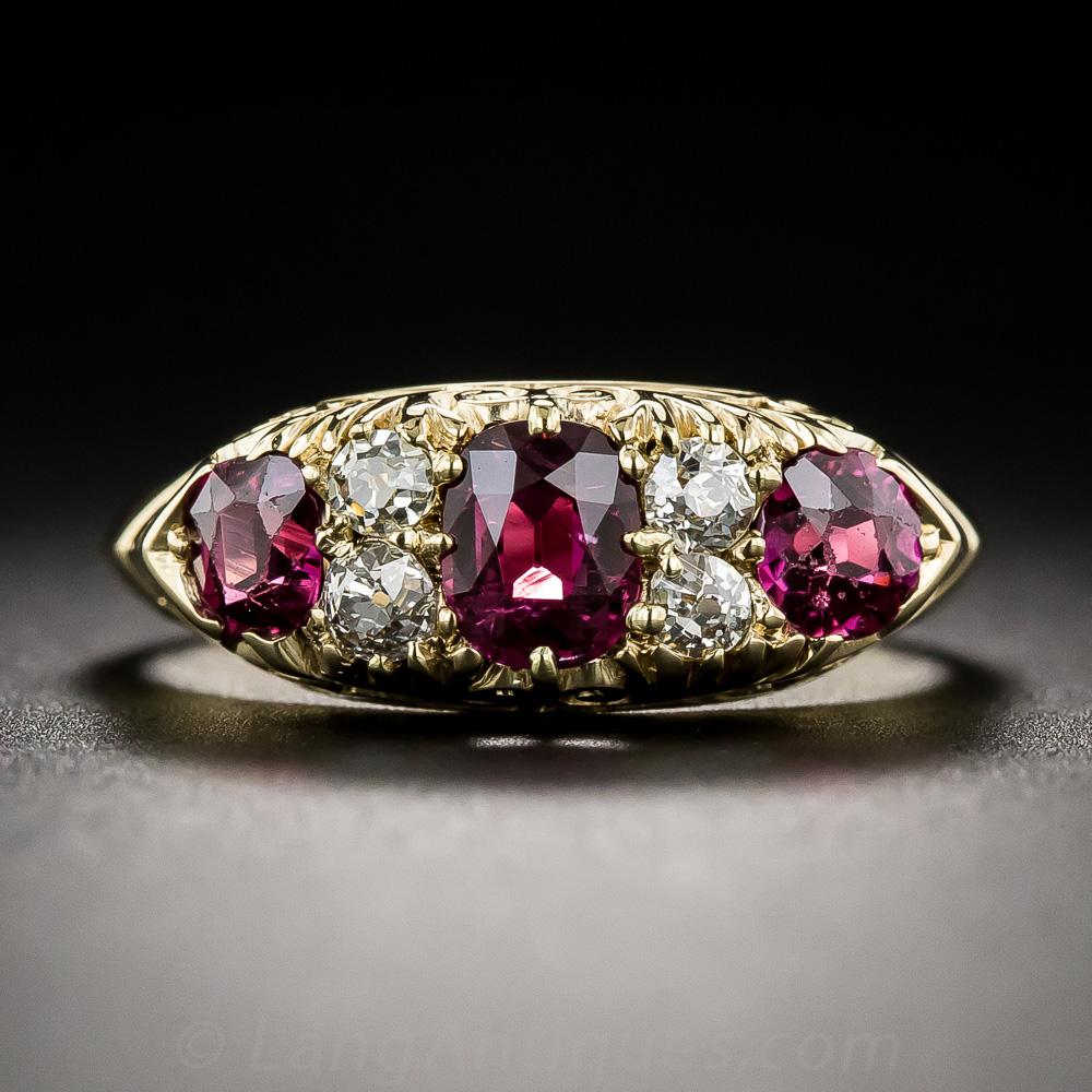 Antique Three Stone No Heat Ruby And Diamond English