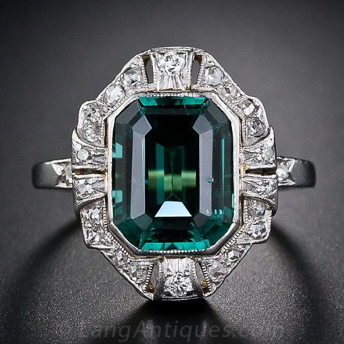 Antique Tourmaline And Diamond Ring