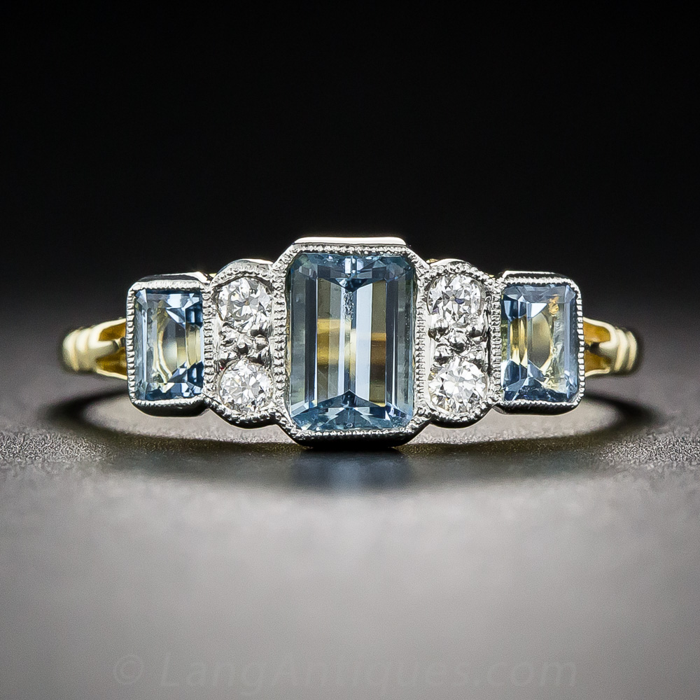 Aquamarine And Diamond Vintage Style Ring Vintage
