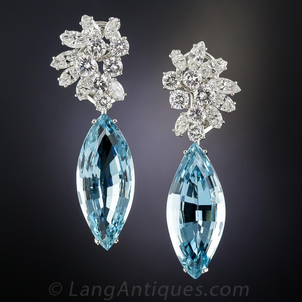 Aquamarine Platinum And Diamond Earrings