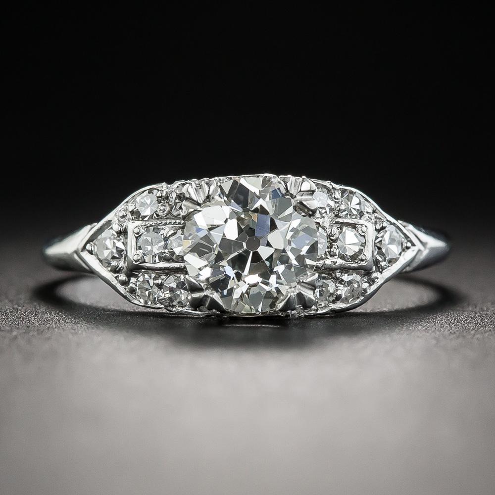 04 Carat Bands: Art Deco 1.04 Carat Diamond Platinum Engagement Ring