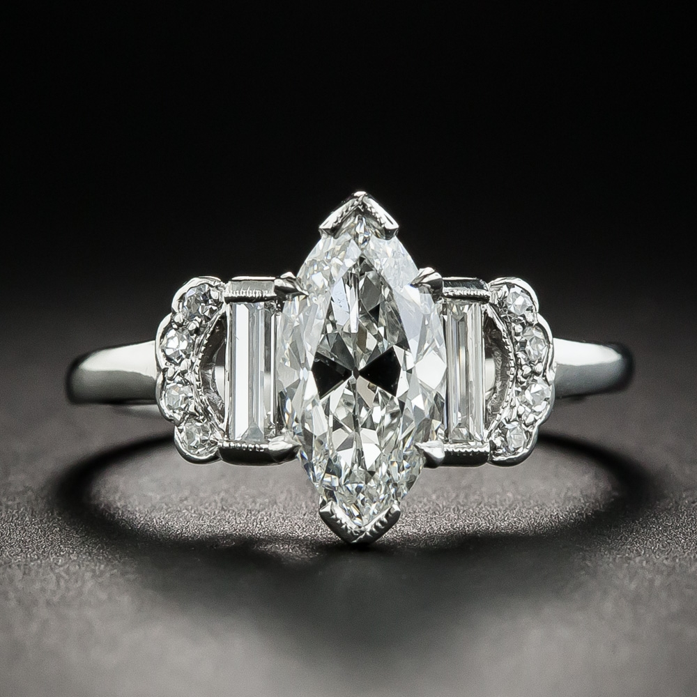 Art Deco 1 50 Carat Marquise Diamond Engagement Ring Gia