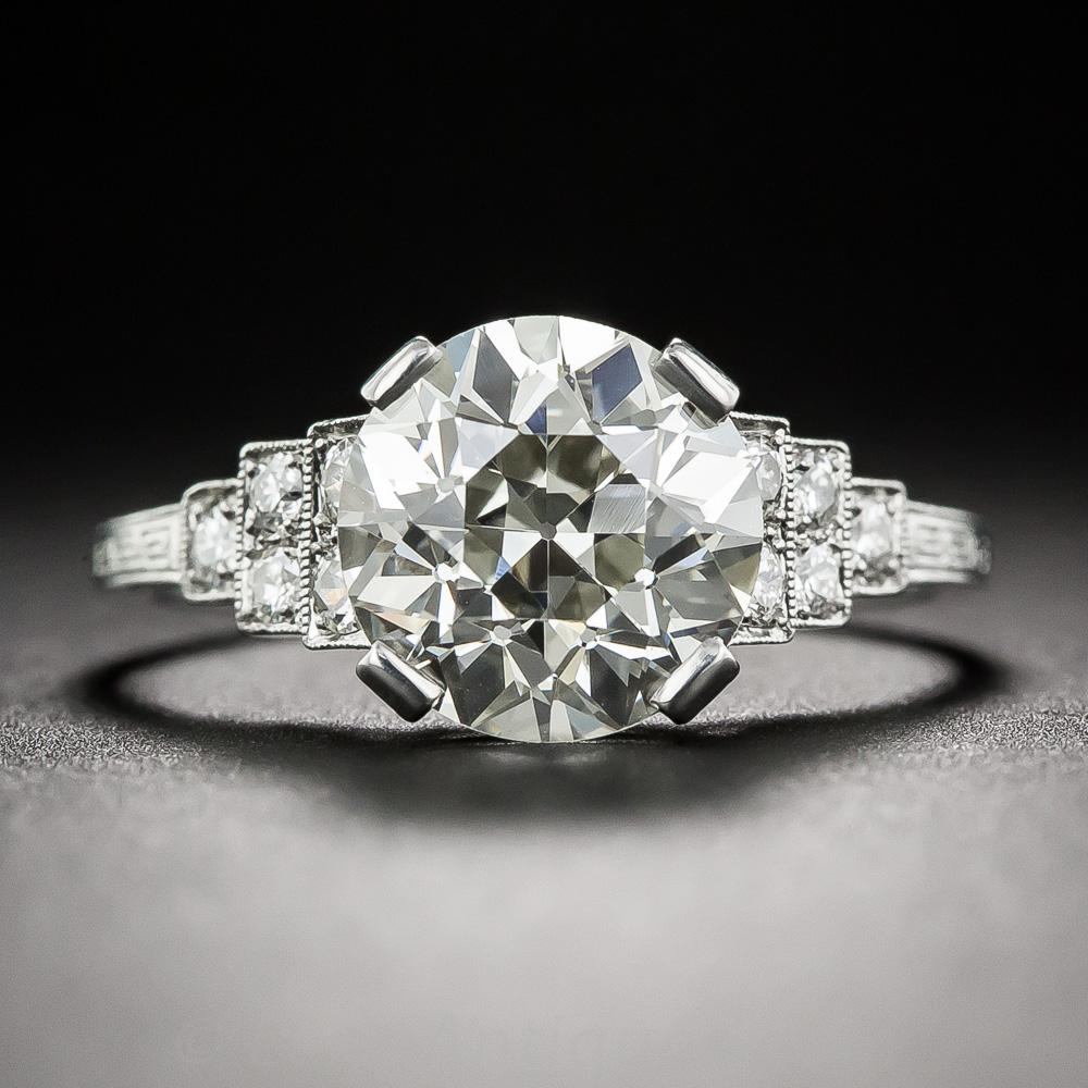 2 58 Carat Old European Cut Diamond Art Deco Ring