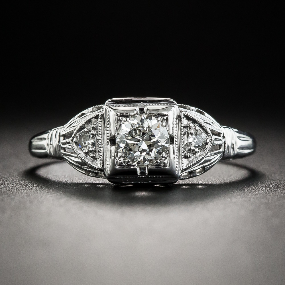 Art Deco 40 Carat Diamond Engagement Ring