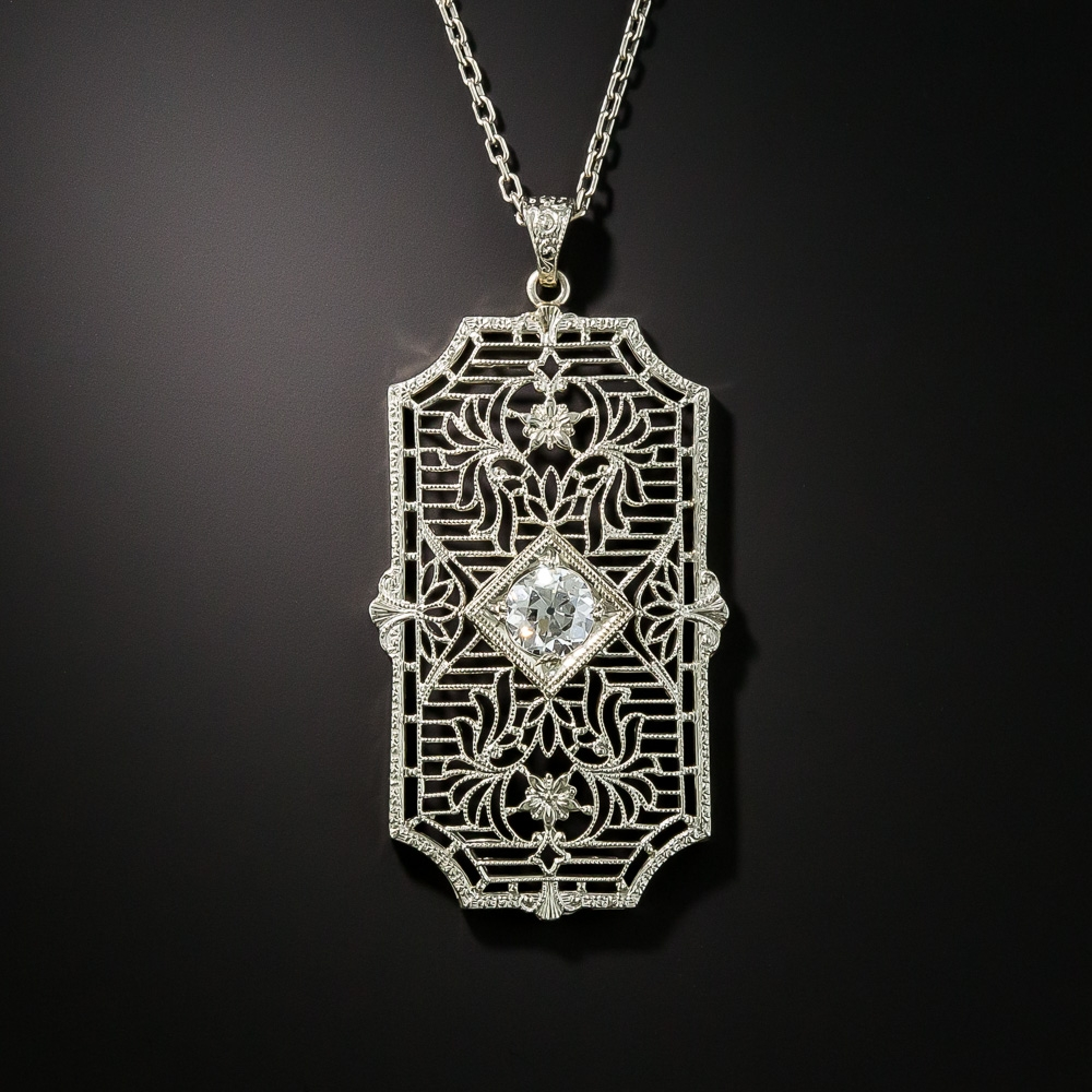 Art Deco 50 Carat Diamond Filigree Pendant Vintage Jewelry