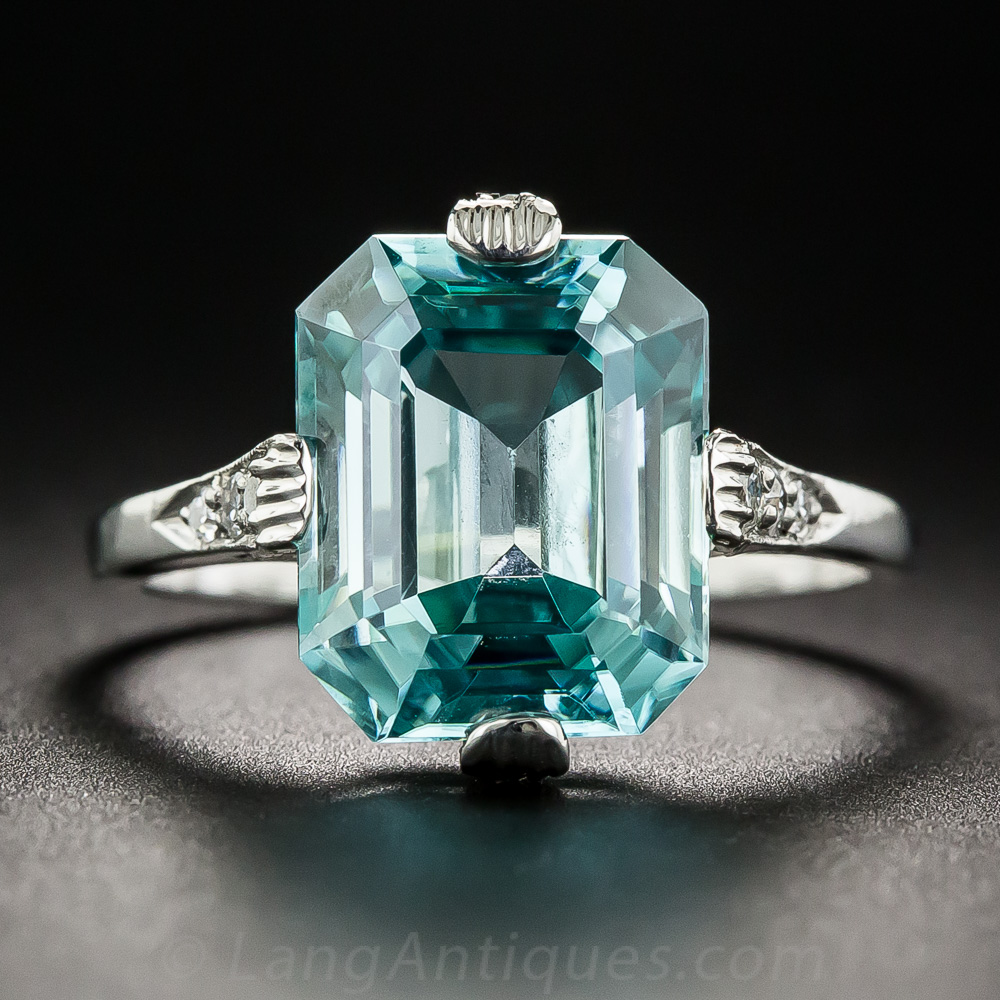 Art Deco Blue Zircon Diamond Ring