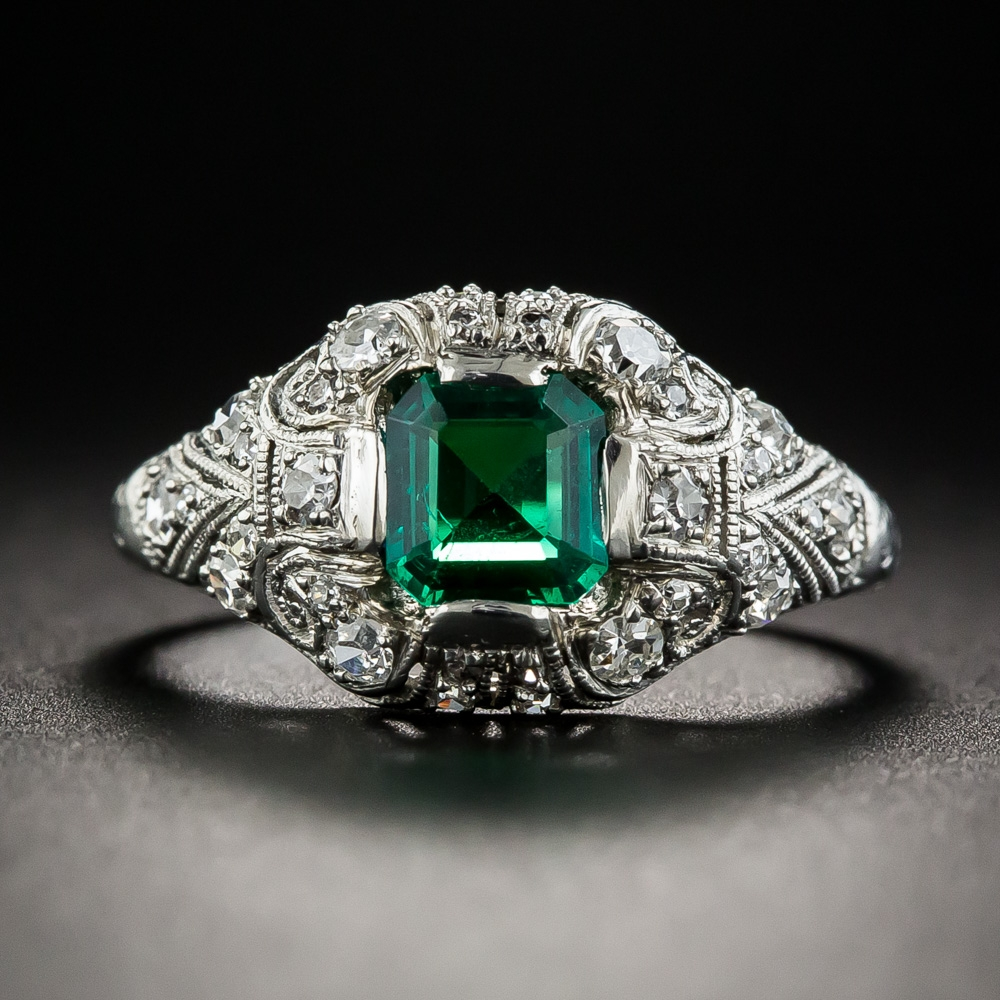 Art Deco Colombian Emerald And Diamond Ring Antique