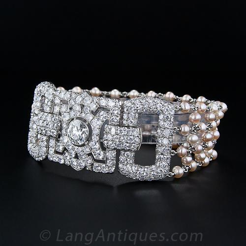 Art Deco Diamond And Pearl Bracelet With 2 10 Carat Center