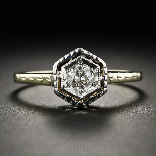 Art Deco Diamond and TwoTone Gold Engagement Ring