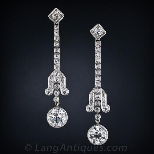stud diamond platinum in deco art earrings drop