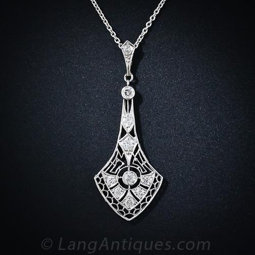 Art Deco Diamond Pendant Necklace