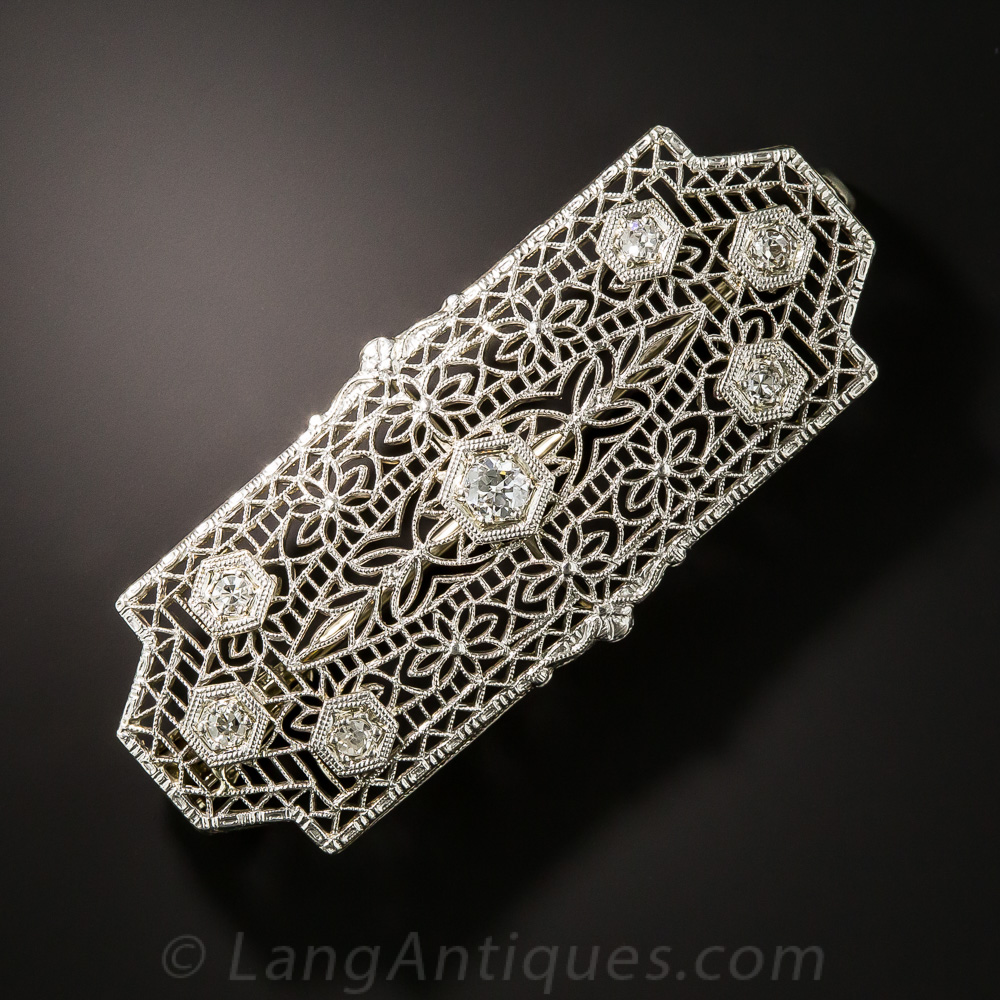 Art Deco Filigree Diamond Pin Pendant