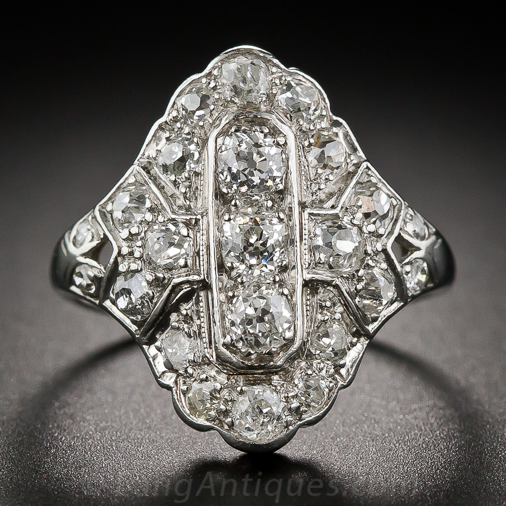 Art Deco Platinum And Diamond Dinner Ring