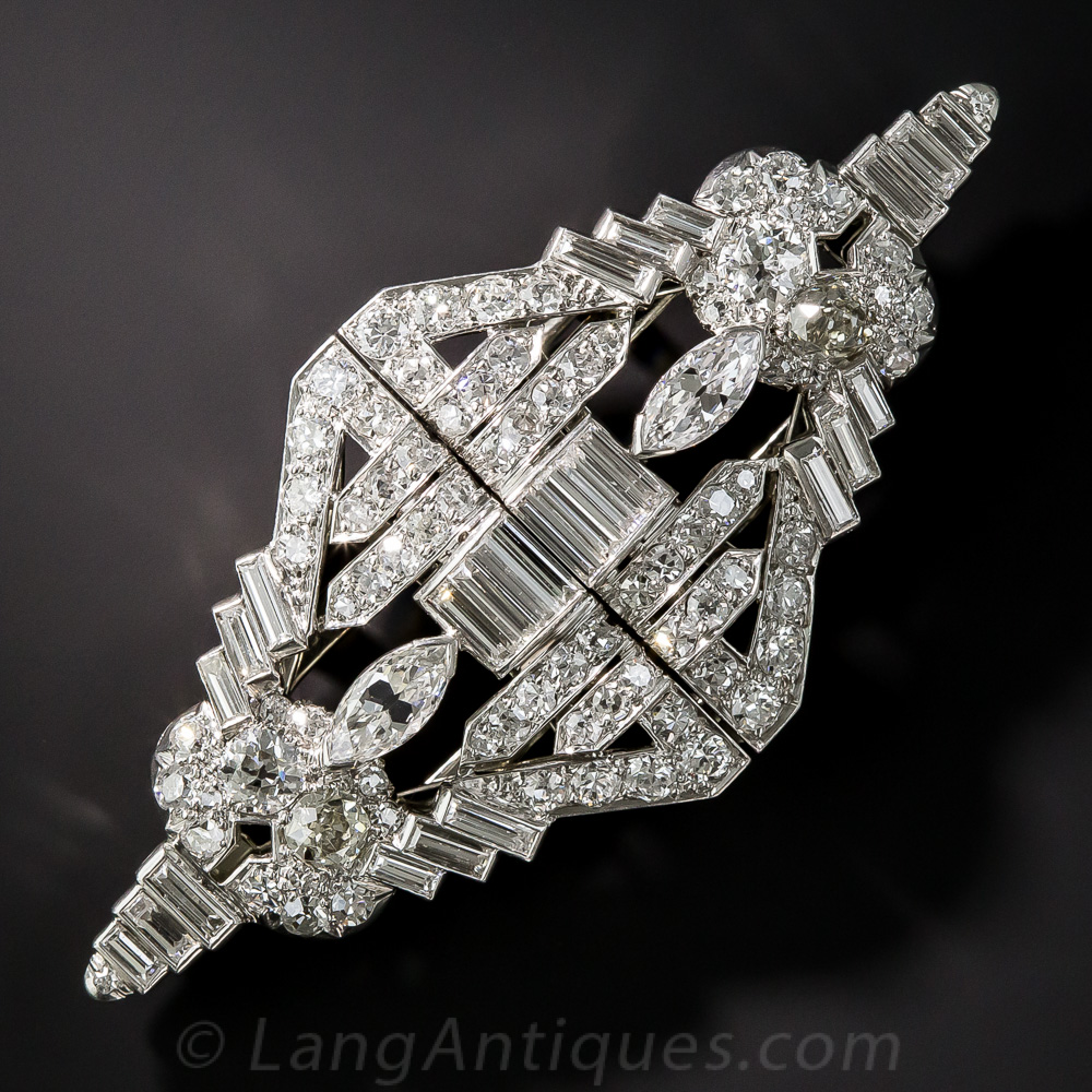 Art Deco Platinum And Diamond Double Clip Brooch