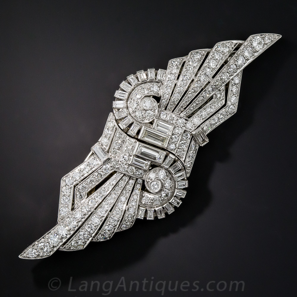 Art Deco Platinum Diamond Clips Brooch