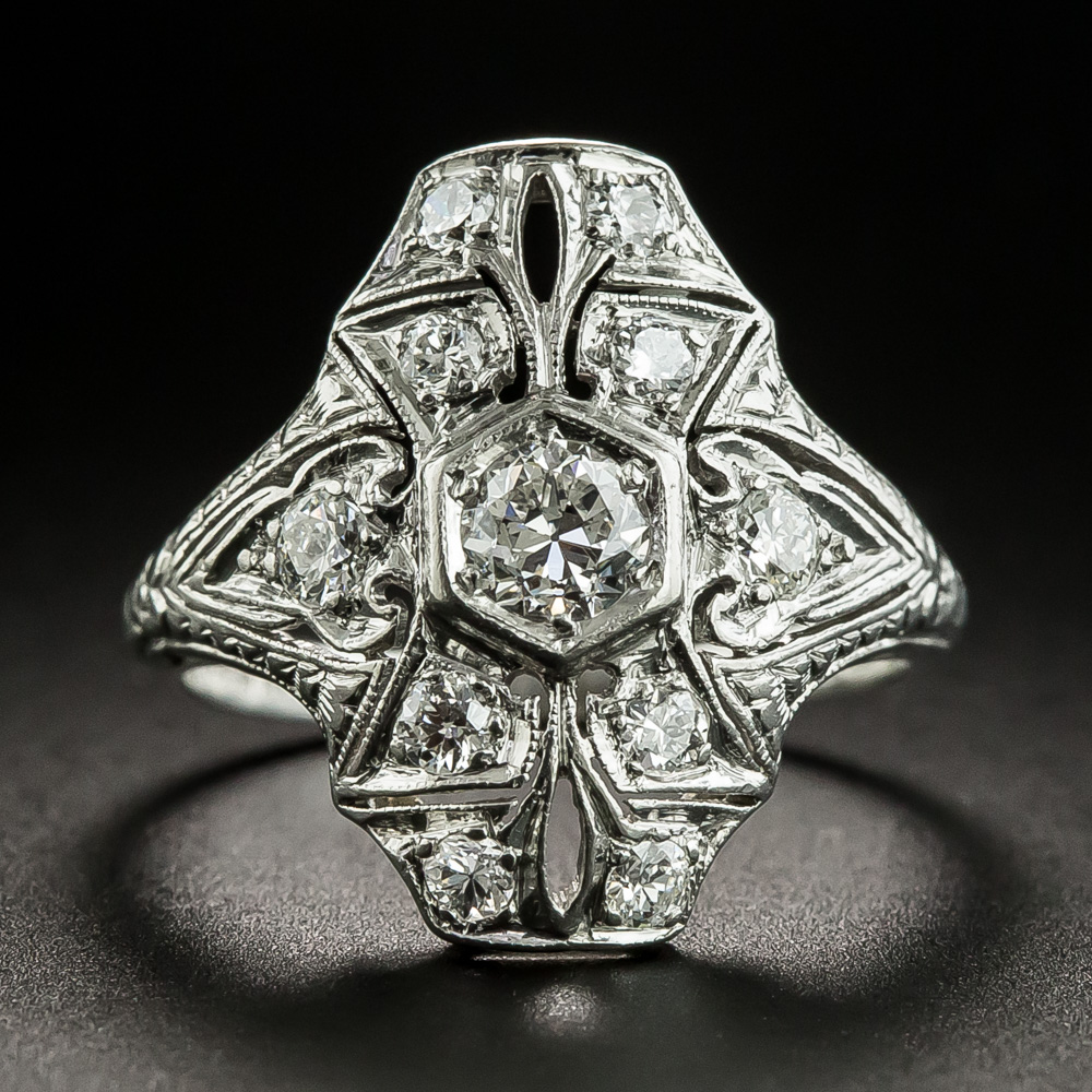 Art Deco Platinum Diamond Dinner Ring Vintage Jewelry