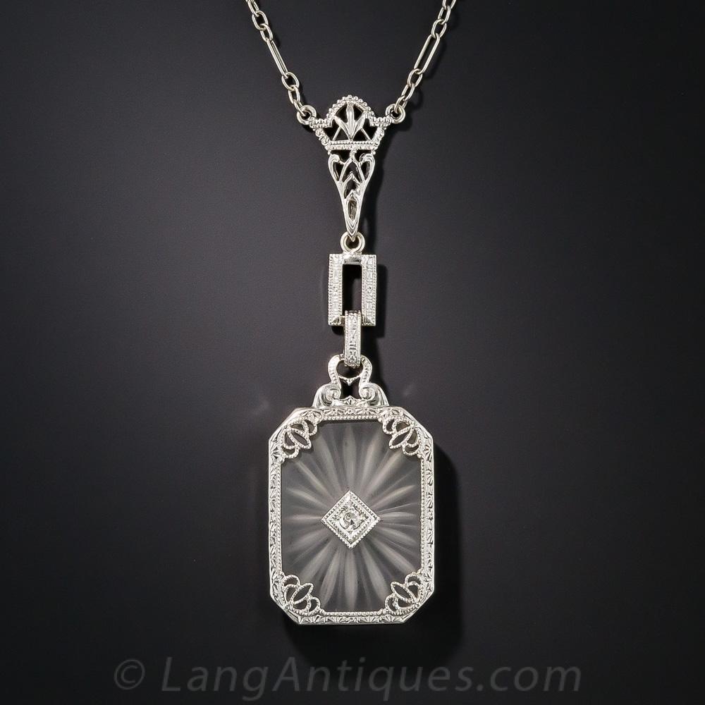 Art Deco Rock Crystal Quartz And Diamond Pendant Necklace