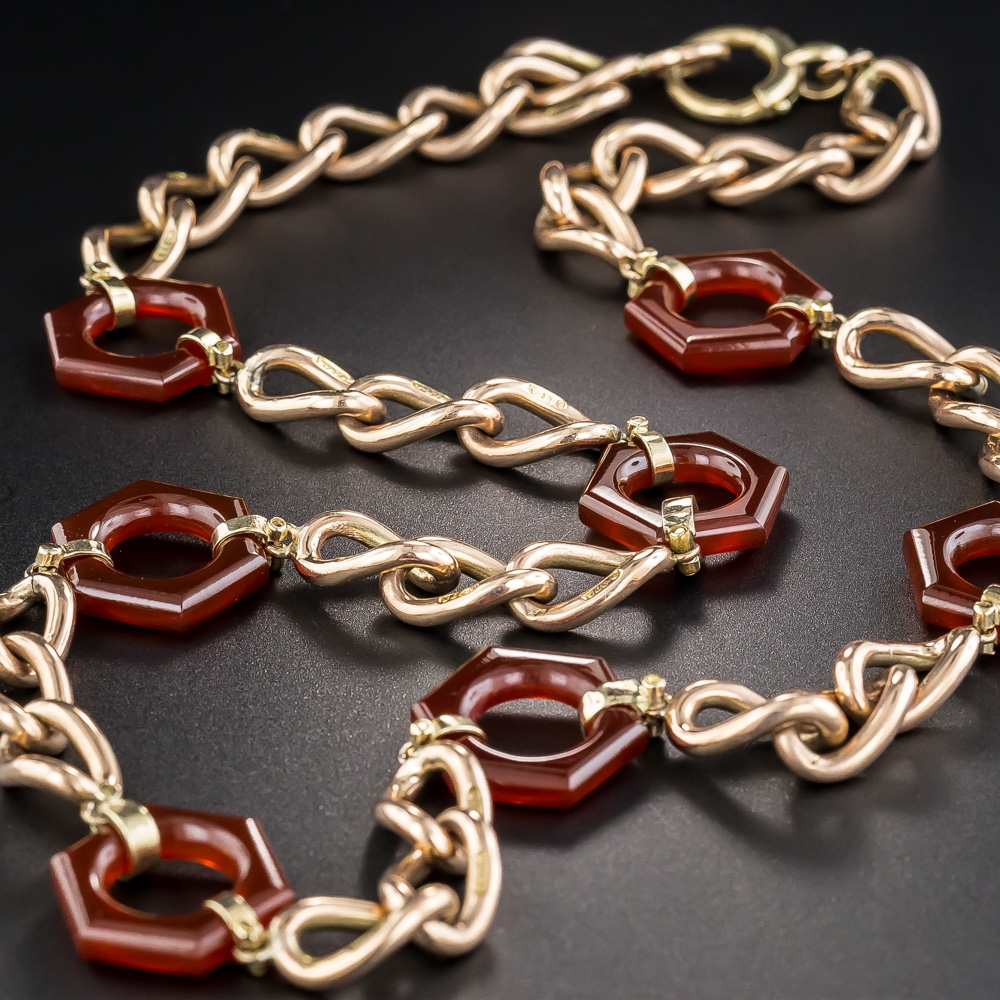 art deco rose gold carnelian necklace. Black Bedroom Furniture Sets. Home Design Ideas
