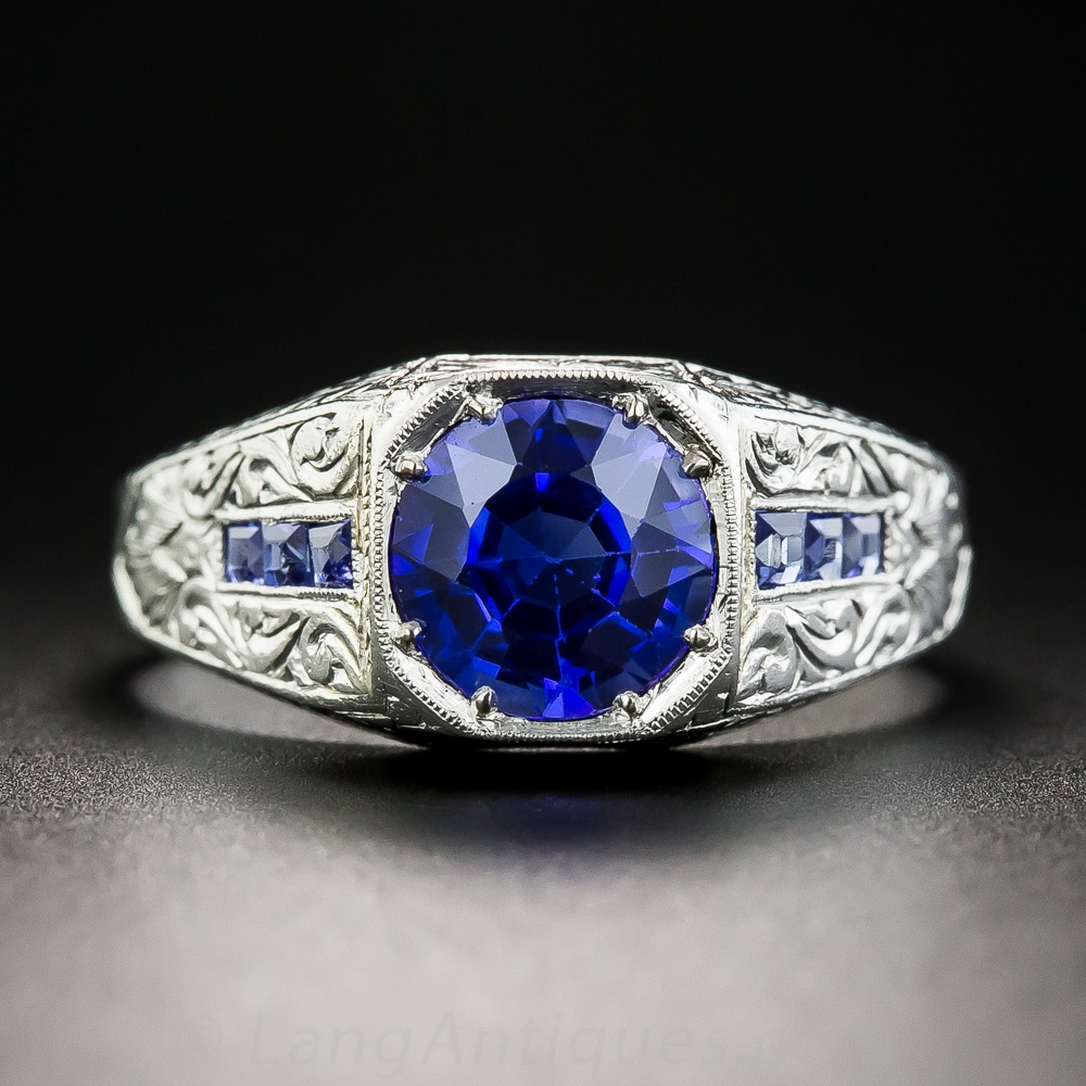 Art Deco Sapphire And Platinum Gent S Ring Antique