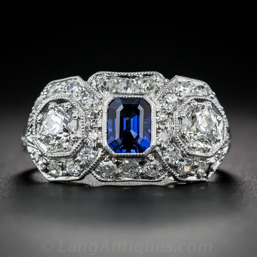 Art Deco Sapphire Diamond And Platinum Ring Vintage