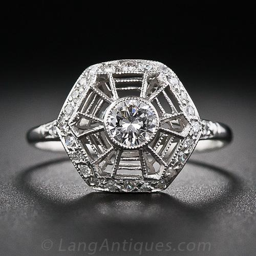 Art Deco Spider Web Diamond Ring