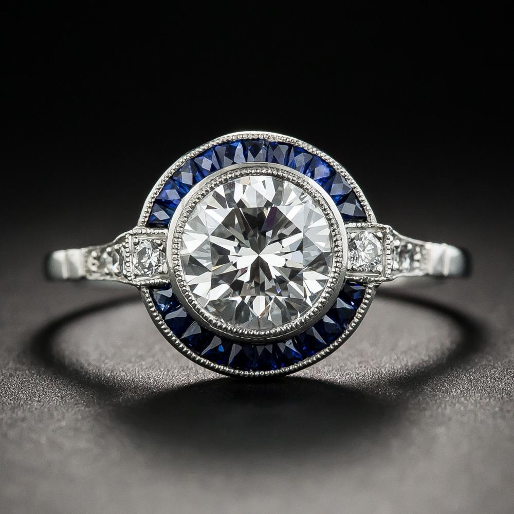 Art Deco Style 1 64 Carat Diamond Platinum Sapphire